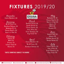 2019/20 Ghana Premier League fixtures: Kotoko full matches revealed - Ghana  Latest Football News, Live Scores, Results - GHANAsoccernet