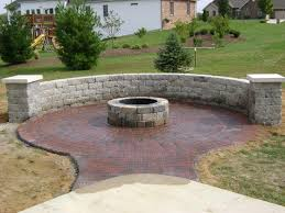 flagstone landscaping. Circle Patio With Fire Pit And Free Standing Wall Columns Pier Caps Flagstone Landscaping