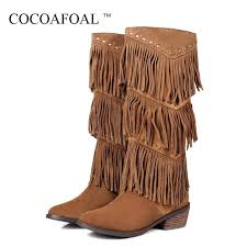 cocoafoal winter women s fringe knee high boots woman thigh high boots genuine leather black brown woman fringe shoes fashion