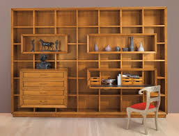 extraordinary full wall wooden shelving unit design including drawers