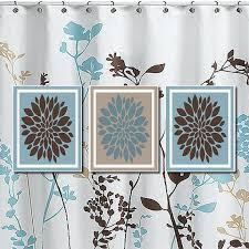modern floral flower flourish burst blue tan sepia bathroom decor wall art artwork set of 3 on sepia bathroom wall art with 9 best bathroom artwork ideas images on pinterest bathroom artwork