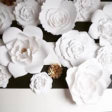 White Paper Flower Wall Large Paper Flowers For Weddings Events And Home Decor Paperflora