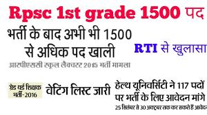 Rpsc 1st Grade Waiting List 3rd Grade Teacher Waiting Rajasthan