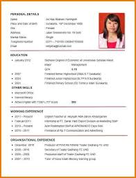 Format For Curriculum Vitae Filename My College Scout