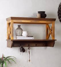 alonza solid wood wall shelf with hooks in distressed yellow finish by fabuliv