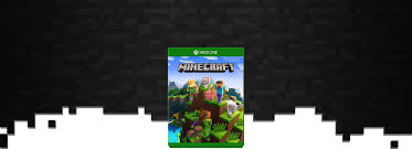minecraft boxshot with a field of blocks as a background