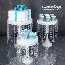 tall silver eloquent crystal pendants metal chandelier wedding cake