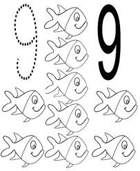 Small Picture Learn Number 9 with Nine Fishes Coloring Page Bulk Color