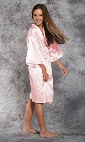 Light Pink Kimono Robe Light Pink Satin Kimono Kids Robe Kids Robes Satin