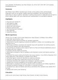 Resume For Police Officer Professional Military Police Officer Templates To Showcase Your
