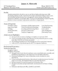 Production Supervisor Resume in PDF