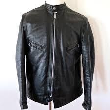vintage original leather jacket cafe racer schott perfecto bull cactus 654 sz 46