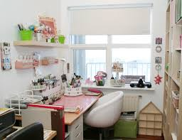 window chair furniture. Small Simple And Cute Craft Room Storage With Pink Wooden Table Beside Window White Leather Chair Plus Custom DIY Wood Wall Mounted Furniture H