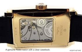 rolex watch with a clear caseback