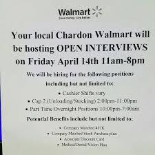 walmart supercenter 223 meadowlands dr chardon oh 44024 pre apply at walmart com apply see you tomorrow