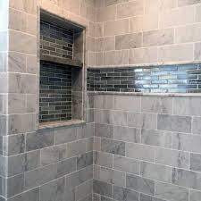 traditional tile shower niche