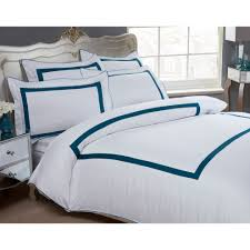 dorchester oceania hotel quality duvet cover set 100 cotton 300 thread count white turquoise blue king duvet cover 2 pillowcases on on