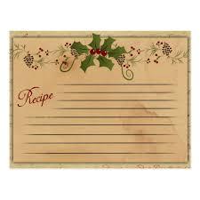 Christmas Recipe Card Vintage Christmas Recipe Card Zazzle Com