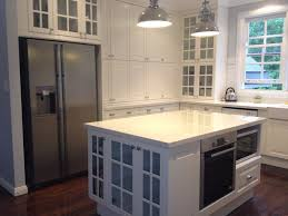 Tremendous Remodel White Gloss Acrylic Built In Ikea Kitchen Cabinets Ideas  Added White Large Kitchen Island For Modern Home Interior Designs