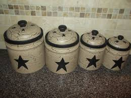 canisters star canister set rustic star canister set primitive le painted set of 4 canisters