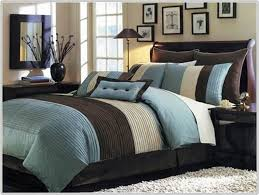 image of blue cream and brown comforter sets king