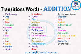 Transitions Words Addition English Study Here