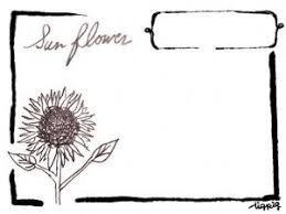 フリー素材フレーム大人可愛いひまわりの鉛筆画のイラストとレトロな枠