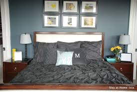 stayathomeista com master bedroom with pintuck charcoal grey bedding