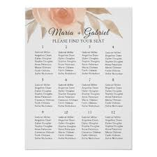 Blush Airy Garden Floral Wedding Seating Chart