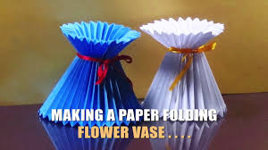 Flower Made By Paper Folding How To Make A Paper Flower Vase Very Easy And Simple Way Video
