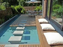 Small Picture Awesome Small Garden Designs With Decking And Narrow Swimming Pool
