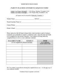 Free Parent Teacher Conference Form