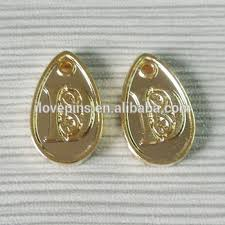 gold color water drop shaped bead custom embossed logo design metal jewelry s pendants
