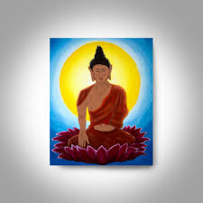 Buddhist Home Decor Acrylic Buddha Painting 20 X16 Canvas Painting Wall Art Home