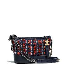 chanel s gabrielle small hobo bag tweed calfskin silver tone gold tone metal navy blue orange red white ref a91810y83700k0915