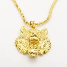 whole wolf design solid 24k yellow gold filled mens pendant necklace with rope chain pearl pendant necklace pendant necklaces from