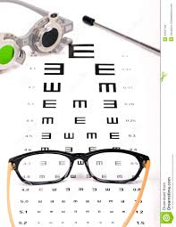 Reading Chart Optometry Optometrist Chart And Glasses Stock Photo Image Of