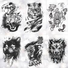 Tiger Skull Leopard Dragon Waterproof Temporary Tattoo Sticker Wolf