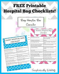 Free Printable Hospital Bag Checklists For Mommy Daddy Baby