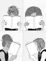 4 人の女の子の本を読んで アフリカ系アメリカ人のベクターアート素材