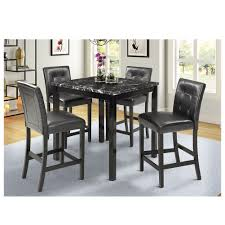 Hommoo 5 Piece Dining Table Set B200001pc Marble Top Counter Height