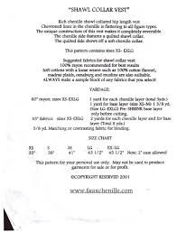 Nannette Baby Clothing Size Chart Nannette Holmberg 505 Faux Chenille Shawl Vest Size Xs S M L Xl Uncut Sewing Pattern
