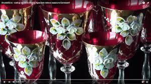 Xrustalik.ru - <b>набор из 18 бокалов</b> Красная лепка смальта Богемия!
