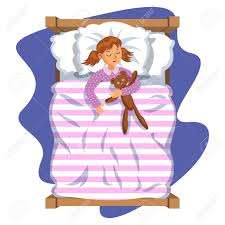 Cartoon Smile Little Girl Sleeping In The Bed With Teddy Bear