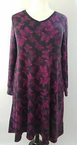 Details About Medium Lularoe Emily Dress Charcoal Black Magenta Purple Butterflies Pockets 05