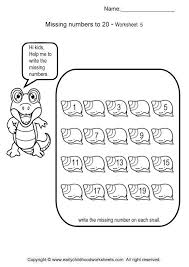 Missing Numbers Worksheets For Preschool and Kindergarten