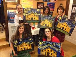 mops moms night out at painting with a twist