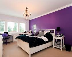 Blue Bed On White Platform Completed Dark Purple Bedroom Ideas