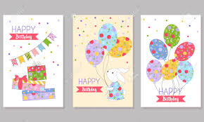 Free Birthday Backgrounds Set Of 3 Childrens Birthday Backgrounds With Cute Rabbit Balloons