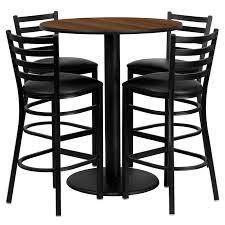 36 round walnut laminate table set with 4 ladder back metal barstools black vinyl seat